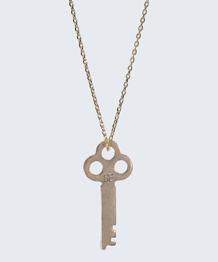 Vintage Inspired Key Necklace in BE The Giving Keys BE Gold