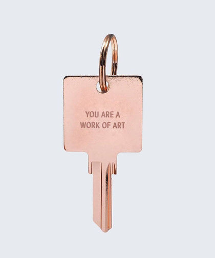 YOU ARE A WORK OF ART Keychain Key Chain The Giving Keys YOU ARE A WORK OF ART Rose Gold