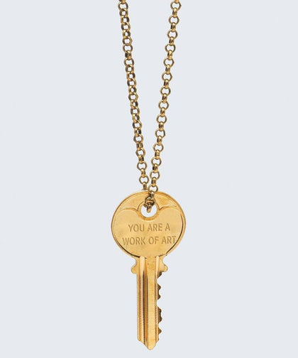YOU ARE ARE A WORK OF ART Classic Key Necklace Necklaces The Giving Keys YOU ARE A WORK OF ART GOLD