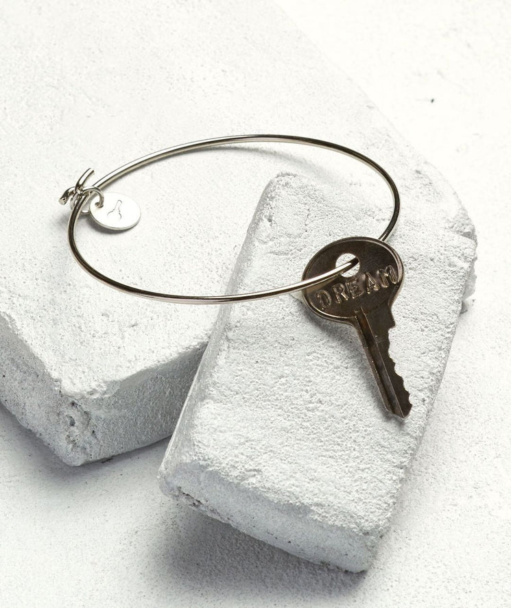 Dainty Key Bangle Bracelet Bracelets The Giving Keys DREAM Silver