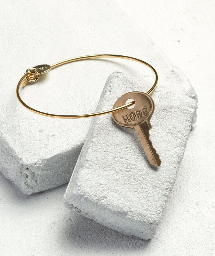 Dainty Key Bangle Bracelet Bracelets The Giving Keys HOPE Gold