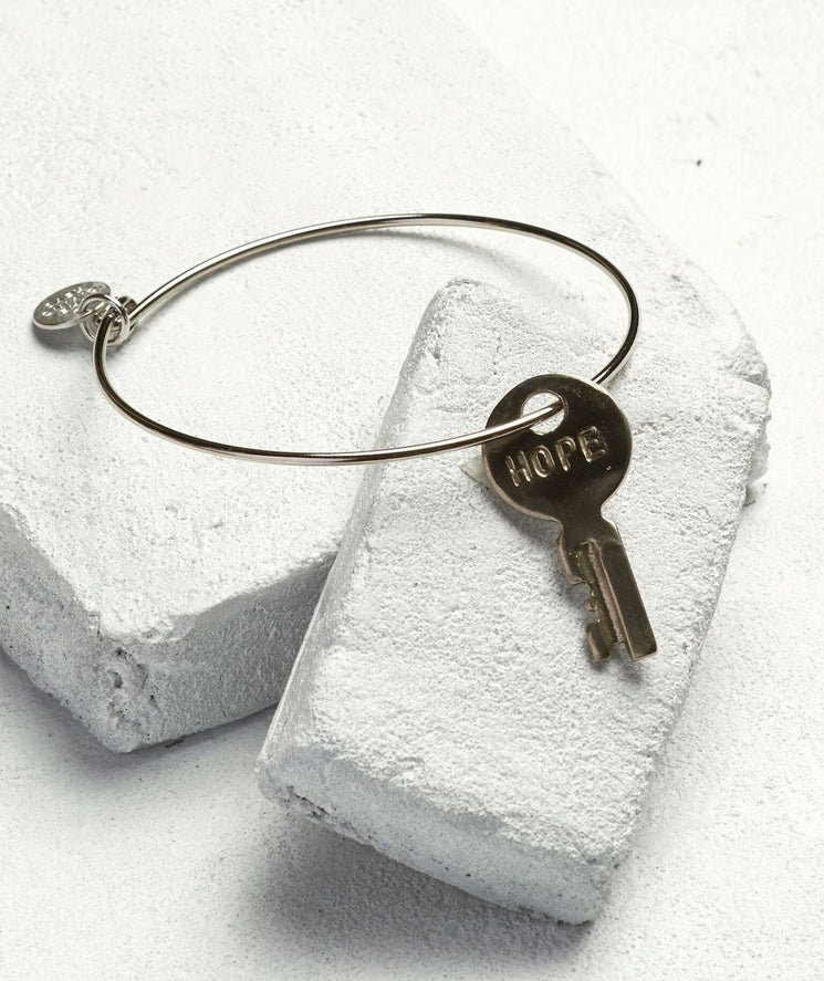 Dainty Key Bangle Bracelet Bracelets The Giving Keys HOPE Silver