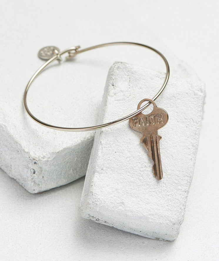 Dainty Key Bangle Bracelet Bracelets The Giving Keys FAITH Silver