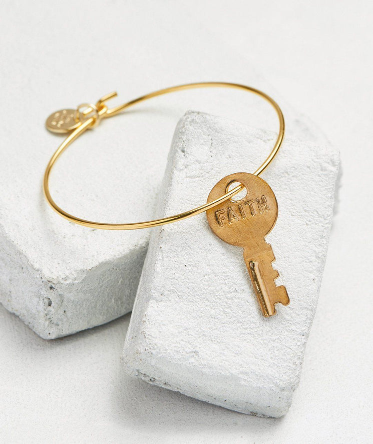 Dainty Key Bangle Bracelet