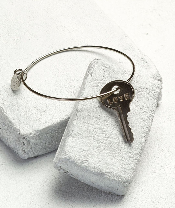 Dainty Key Bangle Bracelet Bracelets The Giving Keys LOVE Silver
