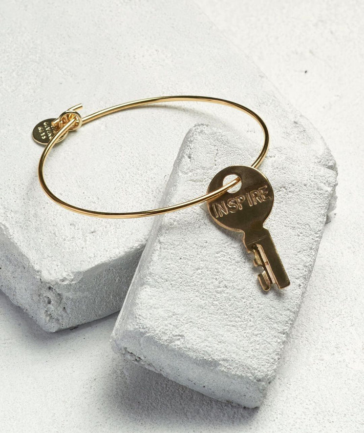 Dainty Key Bangle Bracelet Bracelets The Giving Keys INSPIRE Gold