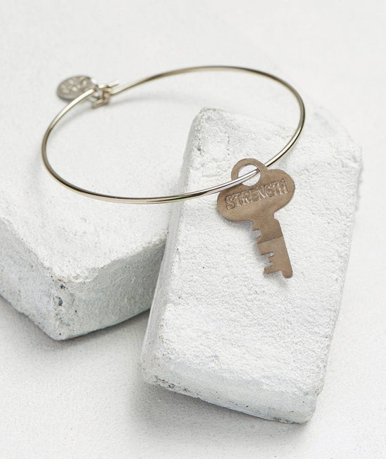 Dainty Key Bangle Bracelet Bracelets The Giving Keys STRENGTH Silver