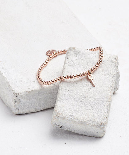 Metallic Bead Mini Key Bracelet Bracelets The Giving Keys LOVE ROSE GOLD