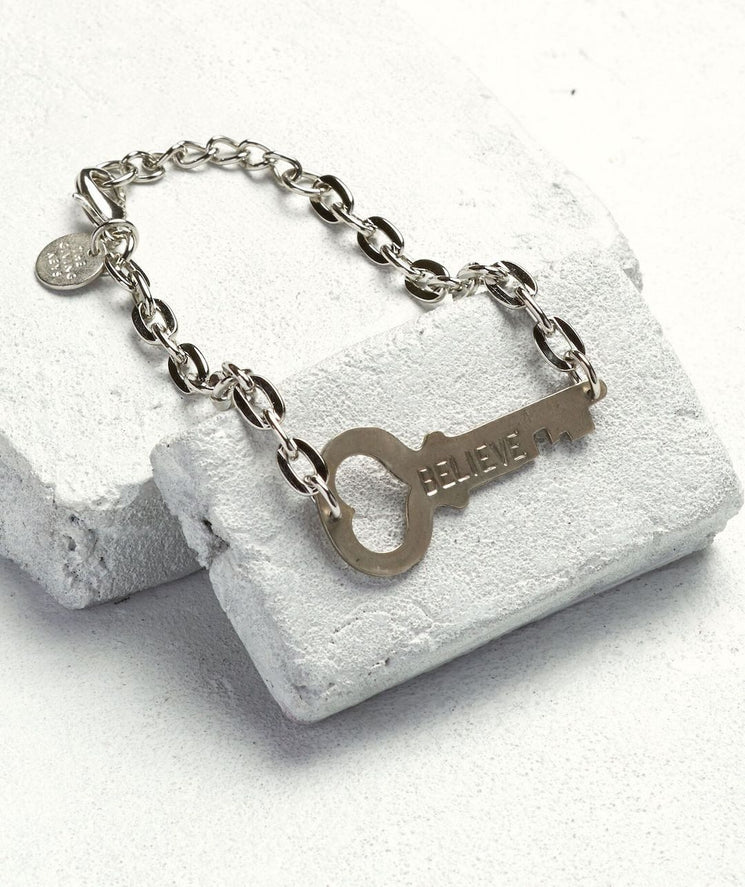 Never Ending Key Bracelet Bracelets The Giving Keys BELIEVE Silver