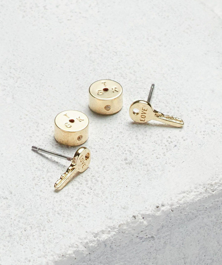 Mini Key Post Earrings Earrings The Giving Keys LOVE Gold