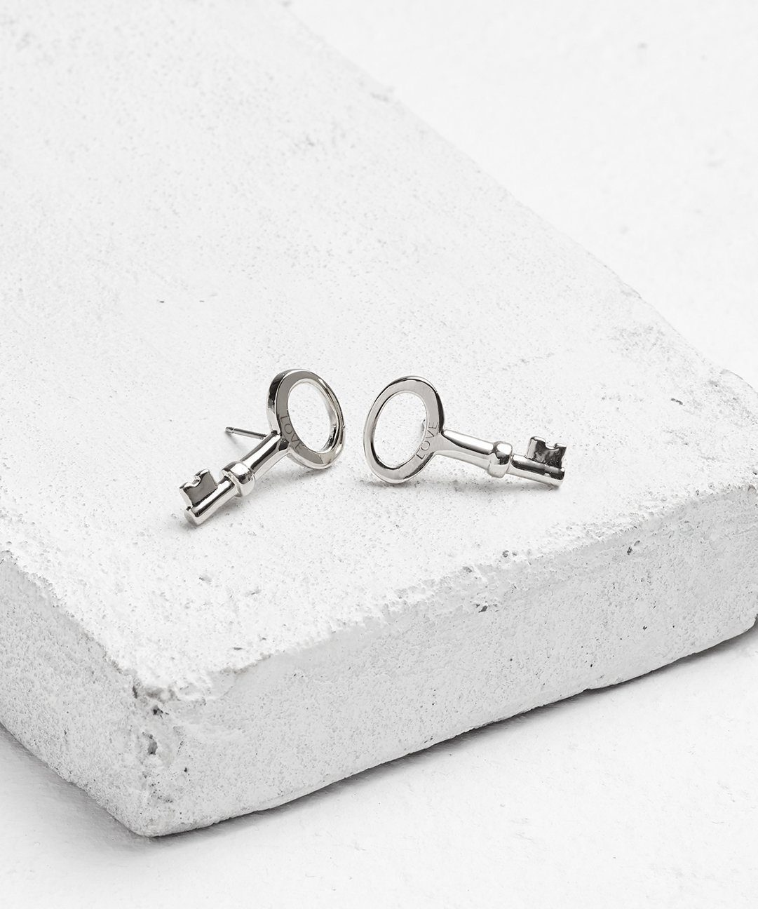 Modern Skeleton Key Post Earrings Earrings The Giving Keys Love Silver