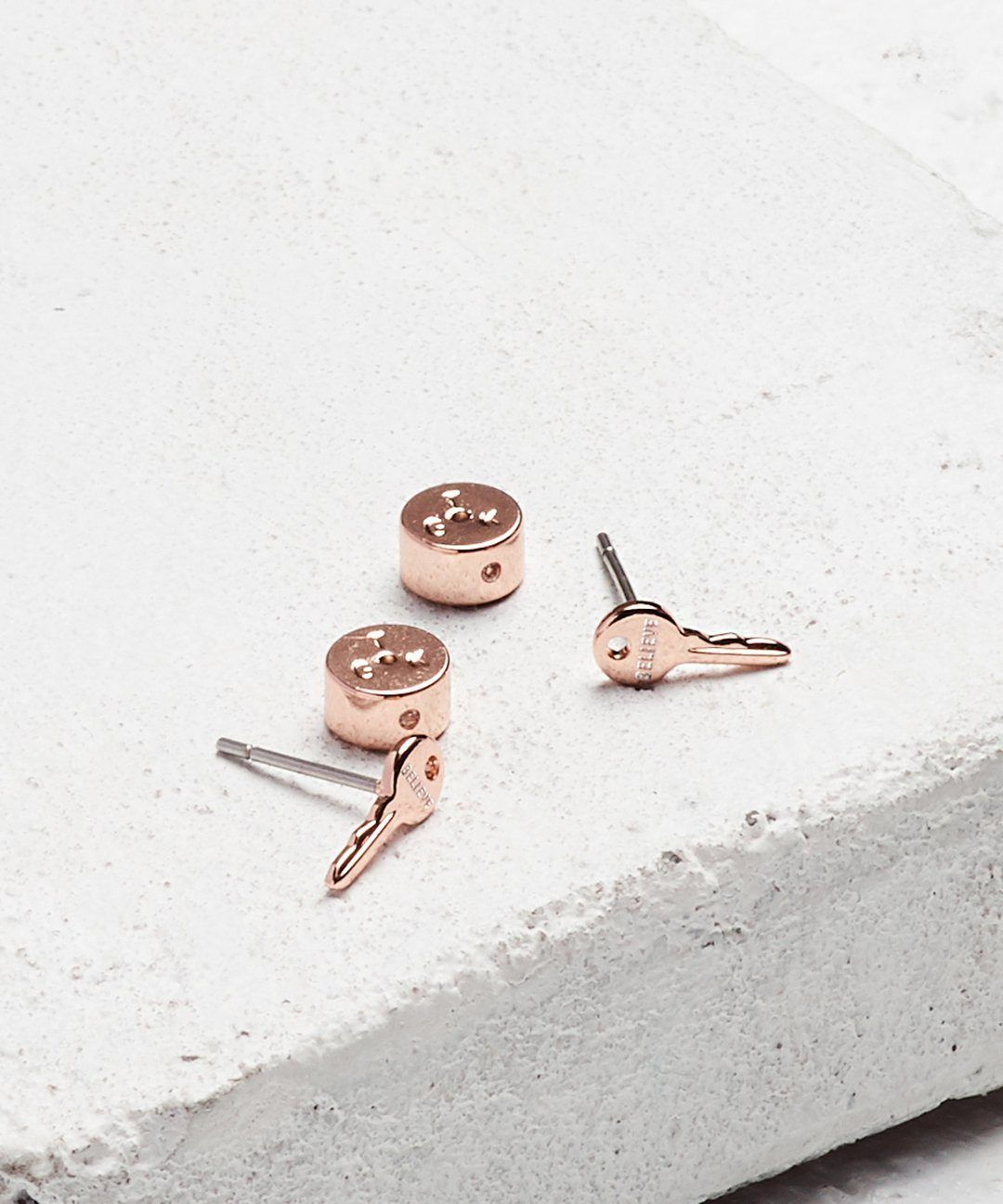 Rose Gold Mini Key Post Earrings Earrings The Giving Keys BELIEVE Rose Gold