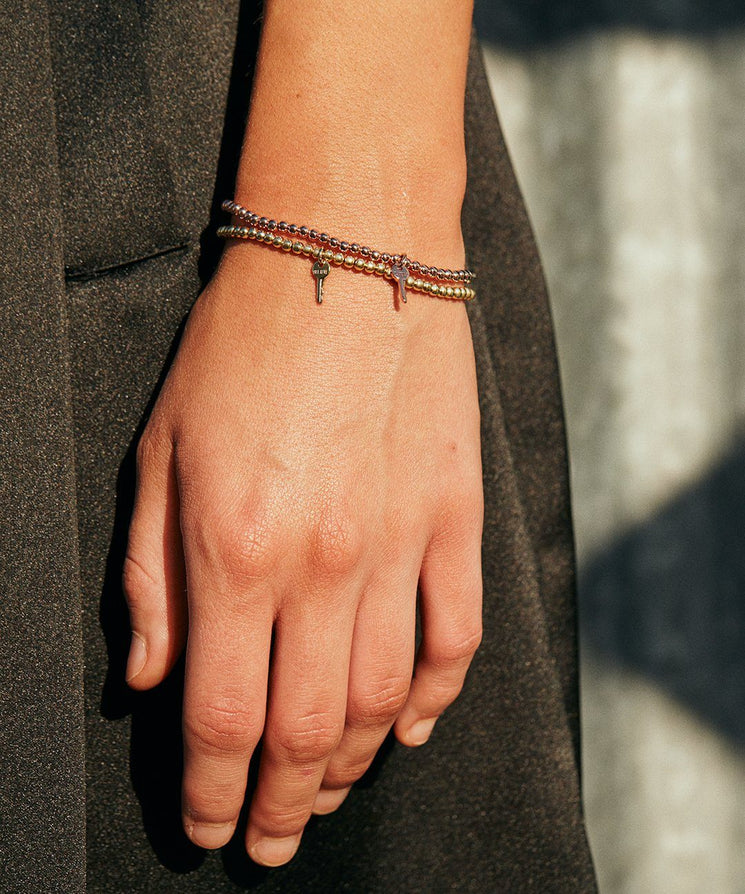 Metallic Bead Mini Key Bracelet Set Bracelets The Giving Keys | Lifestyle