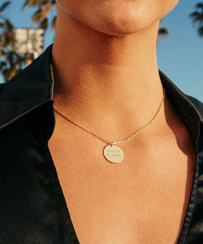 Dare To Be Brave Disc Necklace Necklaces The Giving Keys | Lifestyle