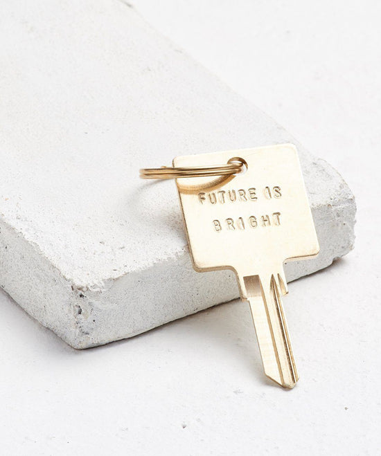 FUTURE IS... Gold Original Keychain Key Chain The Giving Keys BRIGHT Gold