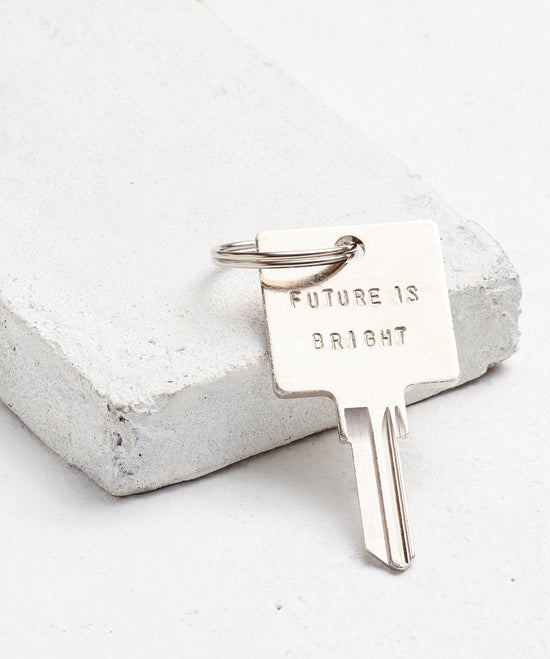 FUTURE IS... Silver Original Keychain Key Chain The Giving Keys BRIGHT Silver