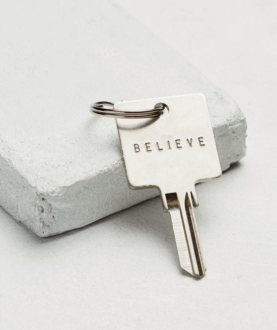 Original Keychain Key Chain The Giving Keys BELIEVE SILVER