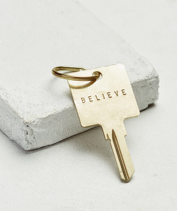 Original Keychain Key Chain The Giving Keys BELIEVE GOLD
