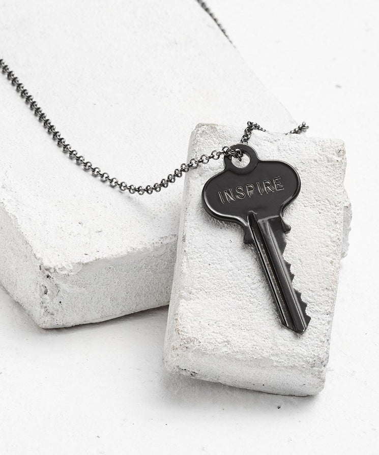 Antique Charcoal Classic Key Necklace - WITH CUSTOM HIDDEN Necklaces The Giving Keys INSPIRE Antique Charcoal