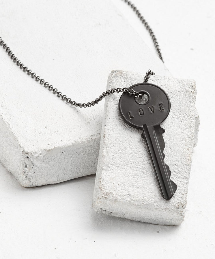 Antique Charcoal Classic Key Necklace - WITH CUSTOM HIDDEN Necklaces The Giving Keys LOVE Antique Charcoal