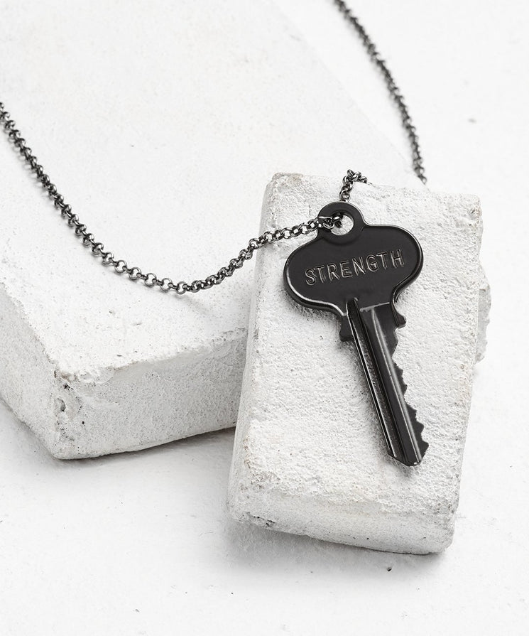 Antique Charcoal Classic Key Necklace - WITH CUSTOM HIDDEN Necklaces The Giving Keys STRENGTH Antique Charcoal