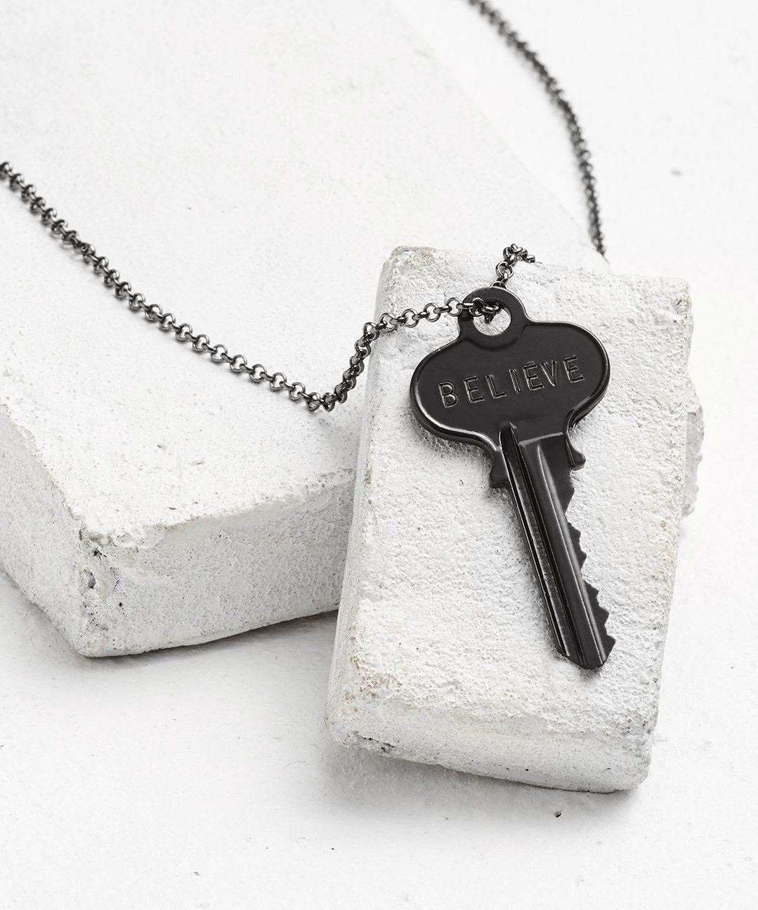Antique Charcoal Classic Key Necklace - WITH CUSTOM HIDDEN Necklaces The Giving Keys BELIEVE Antique Charcoal