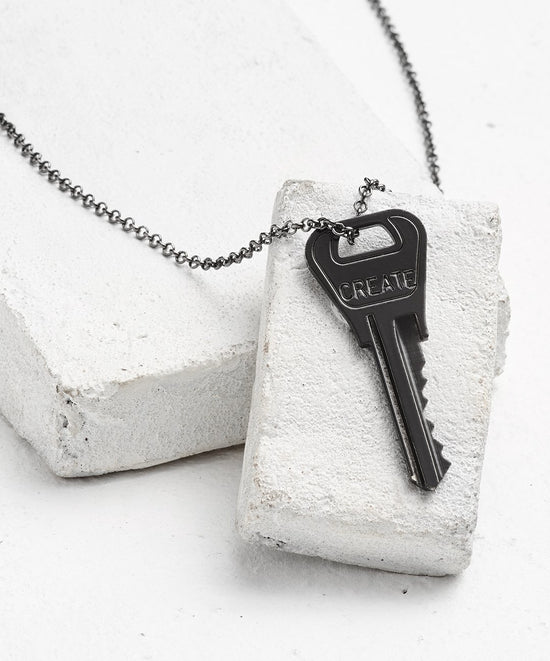 Antique Charcoal Classic Key Necklace - WITH CUSTOM HIDDEN Necklaces The Giving Keys CREATE Antique Charcoal