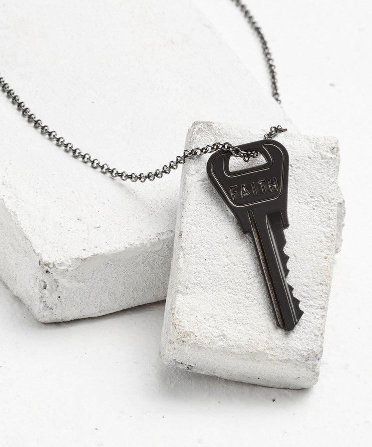 Antique Charcoal Classic Key Necklace - WITH CUSTOM HIDDEN Necklaces The Giving Keys FAITH Antique Charcoal