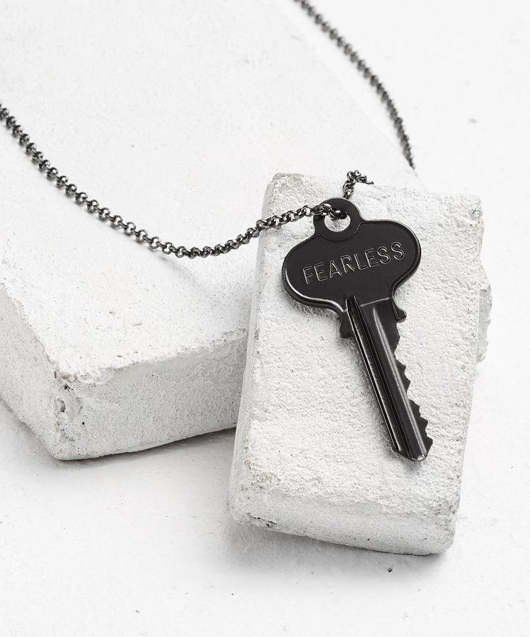 Antique Charcoal Classic Key Necklace - WITH CUSTOM HIDDEN Necklaces The Giving Keys FEARLESS Antique Charcoal