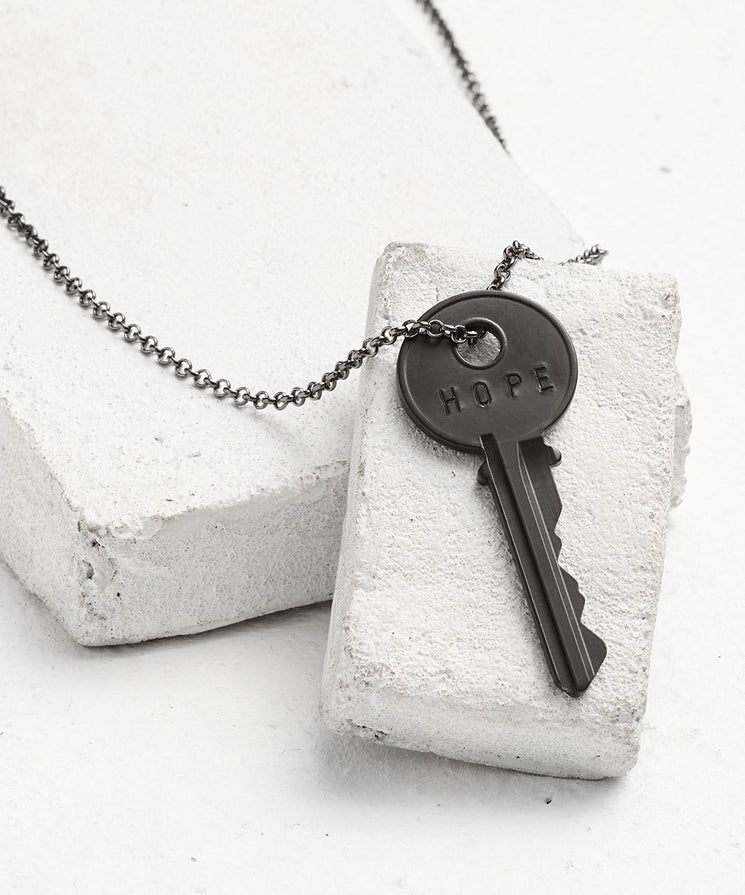 Antique Charcoal Classic Key Necklace - WITH CUSTOM HIDDEN Necklaces The Giving Keys HOPE Antique Charcoal