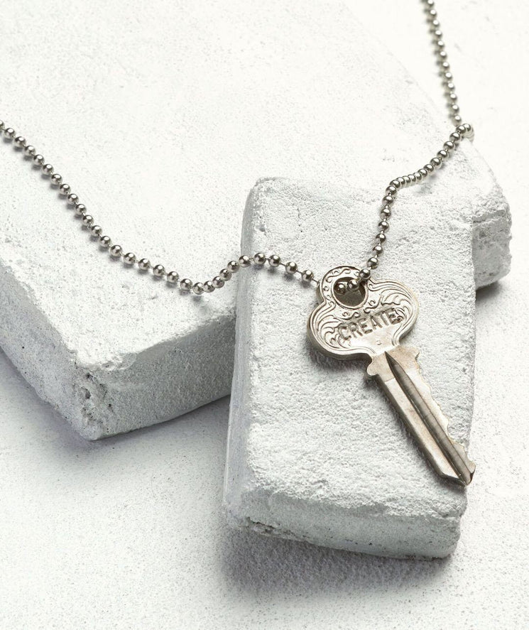 Classic Ball Chain Key Necklace Necklaces The Giving Keys CREATE Silver Ball
