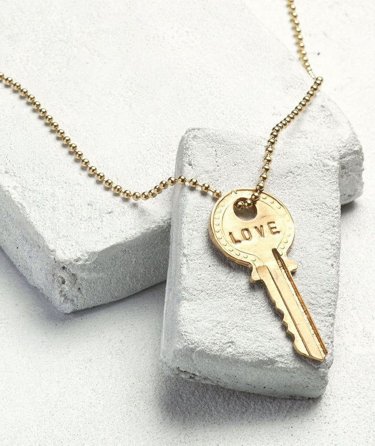 Classic Ball Chain Key Necklace Necklaces The Giving Keys LOVE Gold Ball