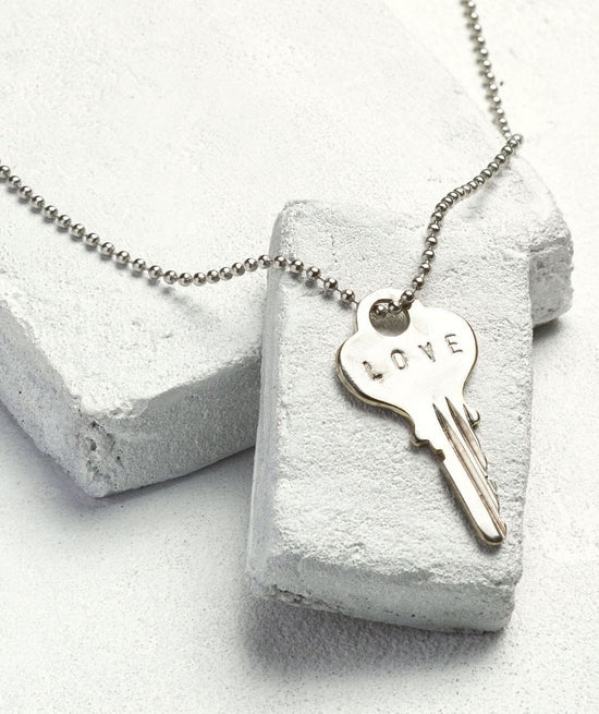 Classic Ball Chain Key Necklace Necklaces The Giving Keys LOVE Silver Ball