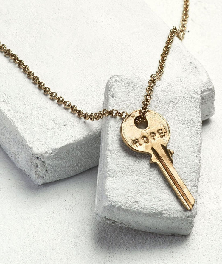 Classic Key Necklace Necklaces The Giving Keys HOPE Antique Gold