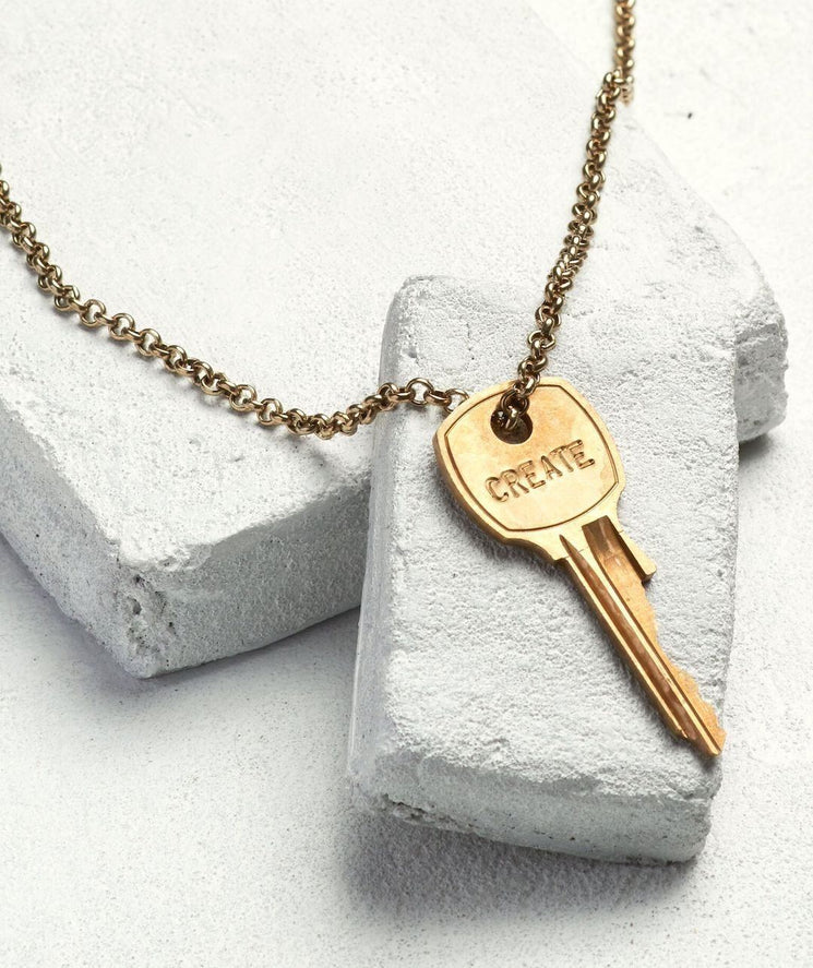 Classic Key Necklace Necklaces The Giving Keys CREATE Antique Gold