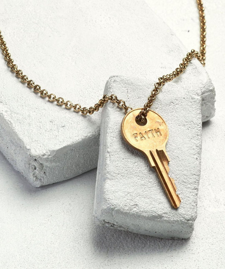Classic Key Necklace Necklaces The Giving Keys FAITH Antique Gold
