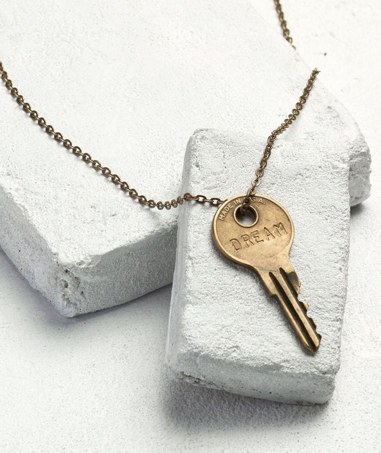 Classic Key Necklace Necklaces The Giving Keys DREAM Oxidized Brass