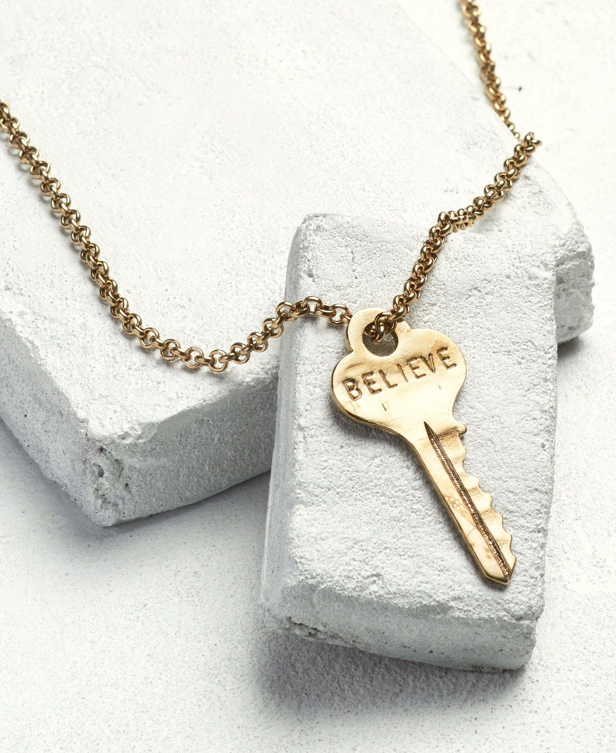 Classic Key Necklace Necklaces The Giving Keys BELIEVE Antique Gold