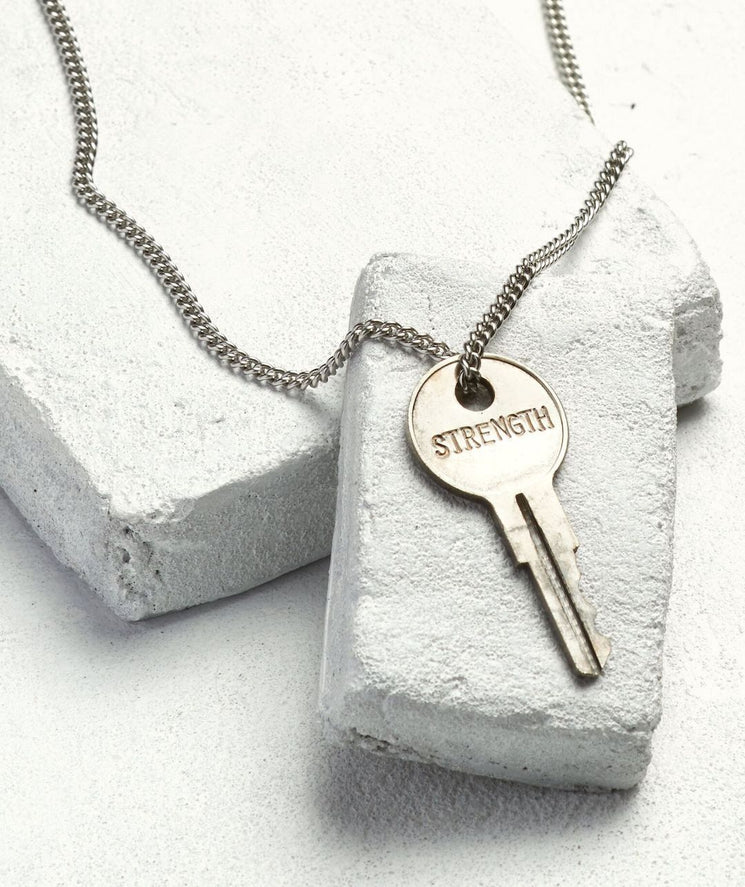 Classic Key Necklace Necklaces The Giving Keys STRENGTH Silver