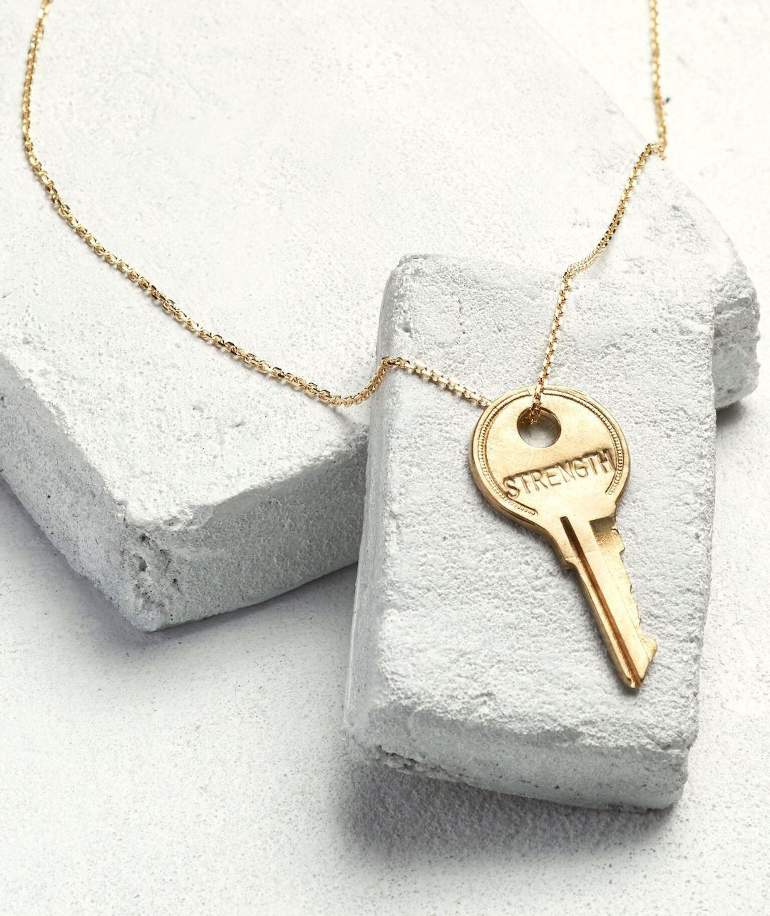 Dainty Key Necklace Necklaces The Giving Keys STRENGTH Dainty Gold