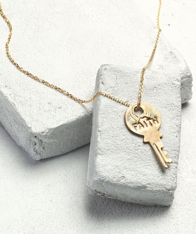 Dainty Key Necklace Necklaces The Giving Keys FAITH Dainty Gold