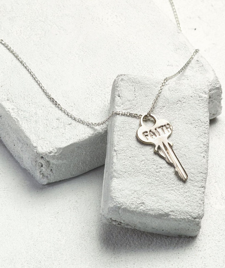 Dainty Key Necklace Necklaces The Giving Keys FAITH Dainty Silver