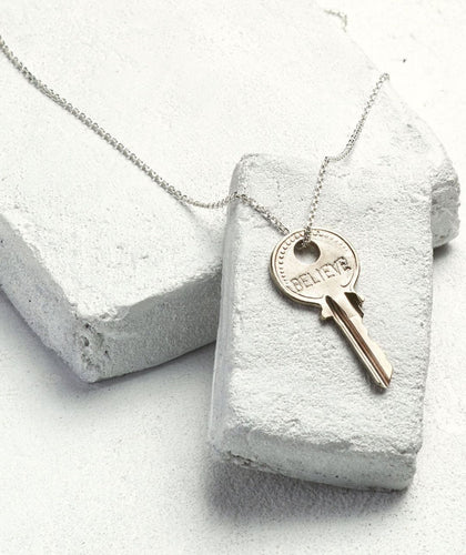 Dainty Key Necklace Necklaces The Giving Keys BELIEVE Dainty Silver