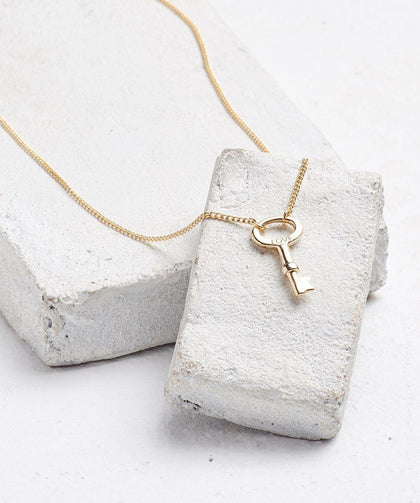 Dainty Modern Skeleton Key Necklace Necklaces The Giving Keys Love Gold