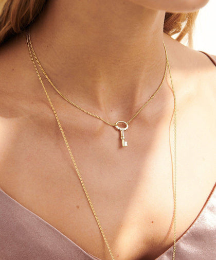 Dainty Modern Skeleton Key Necklace Necklaces The Giving Keys | Lifestyle