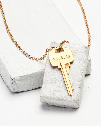 Wedding Date Classic Key Necklace Necklaces The Giving Keys CUSTOM Antique Gold