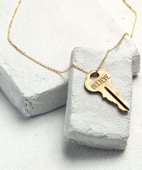 Extra Long Dainty Key Necklace Necklaces The Giving Keys BELIEVE Dainty Gold
