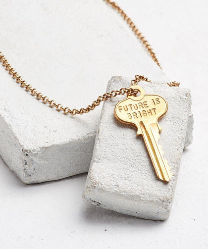 FUTURE IS... Gold Classic Key Necklace Necklaces The Giving Keys BRIGHT GOLD