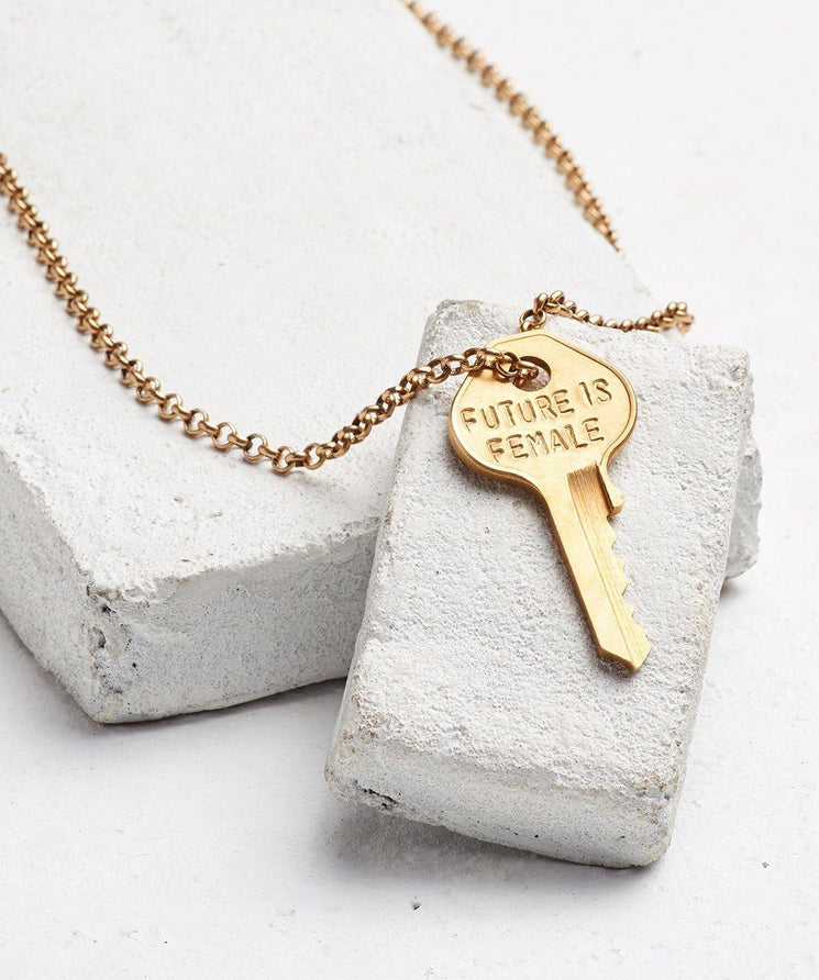 FUTURE IS... Gold Classic Key Necklace Necklaces The Giving Keys FEMALE GOLD