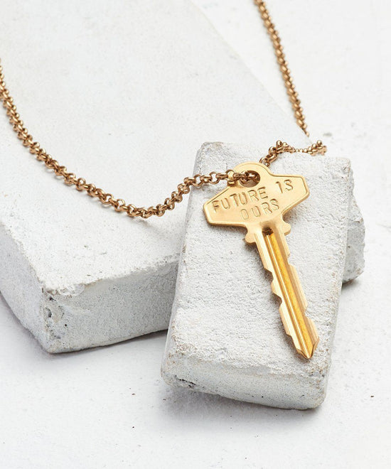 FUTURE IS... Gold Classic Key Necklace Necklaces The Giving Keys OURS GOLD